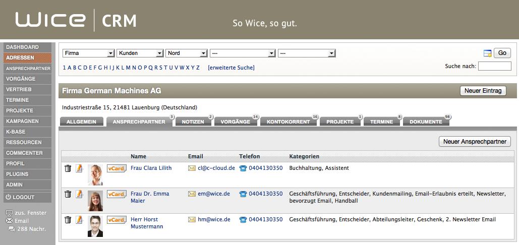 Übersicht Ansprechpartner bei einer Firma - Kontaktverwaltung mit Wice CRM