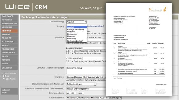 Wice CRM mit Angebotserstellung
