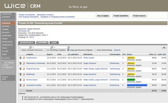 Projektmanagement Aufgabenübersicht mit Status - Wice CRM mit Projektmanagement