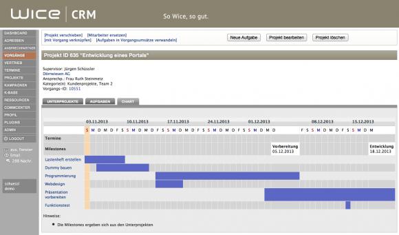 Projektmanagement Ganttdiagramm - Wice CRM mit Projektmanagement