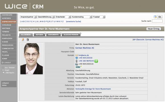 Wice CRM Ansprechpartner Detailansicht